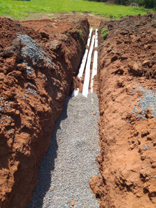 double charged stormwater lines with agg drain to catch surface water - Martinsville